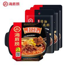 海底捞  番茄牛腩自煮火锅套餐365g*1盒  麻辣清油火锅底料120g*3包
