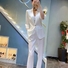 2021新款气质条纹两件套九分裤醋酸真丝职业西装套装女-016PDD1939158