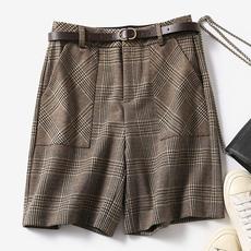 另兮2021春夏季新款五分裤女显瘦高腰短宽松阔腿英伦格子洋气-016PDD1976450