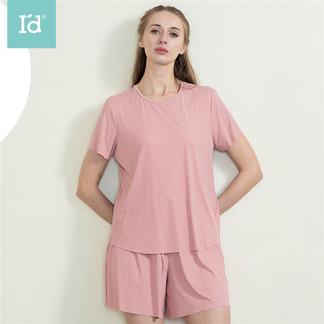 【专柜同款】夏季女式清凉冰丝短袖家居服套装带胸垫睡衣套6215142411