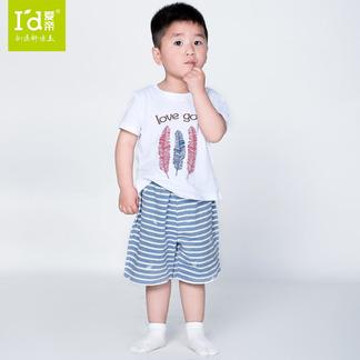儿童夏季短袖套装棉质羽毛印花短袖短裤套6175302971