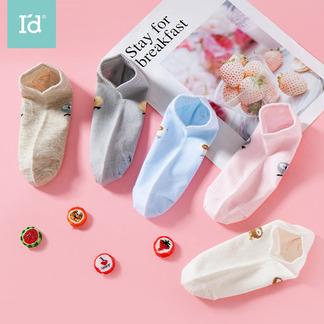 爱帝船袜5双装袜子女式卡通印花船袜6206940211