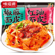 味滋源红油椒麻面皮×5袋 干拌面皮方便速食品(香辣味/椒麻味随机发货,如需指定请备注)