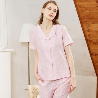 梭织棉睡衣女式竖条纹短袖长裤家居服套装6187111371