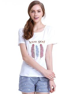 夏季短袖睡衣套透气棉女式羽毛印花短袖家居服套6175302911