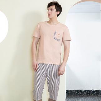 夏季薄款睡衣套装可外穿男式棉短袖五分裤家居服6175303001