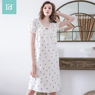 夏季短袖睡裙女式透气棉小兔印花宽松睡裙6182130611