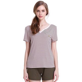 夏季短袖睡衣套薄款女式条纹撞色家居服套6175303111