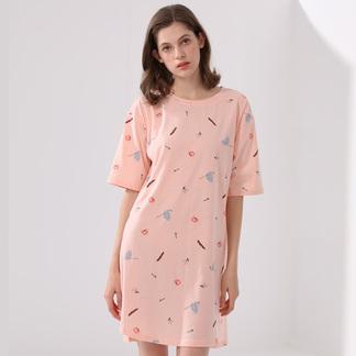 夏季薄款棉质睡裙女式卡通印花短袖裙