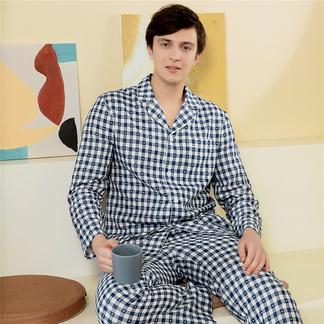 【专柜同款】男式睡衣格纹梭织双层纱透气长袖长裤套6215610101