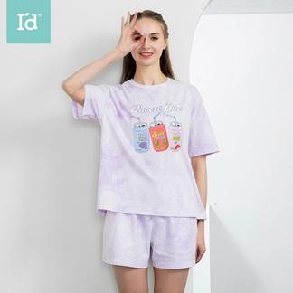 【专柜同款】夏季薄款睡衣可外穿女式时尚渐变晕染短袖短裤套装6215140911