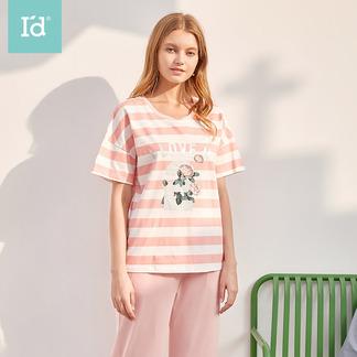 夏季短袖薄款睡衣女式条纹印花短袖中裤家居服套6202300611
