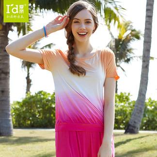 夏季短袖睡衣女式圆领渐变色吊染家居服套装6145315111
