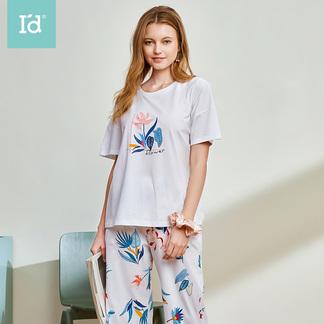 夏季短袖睡衣薄款女式印花短袖中裤家居服套装6202300211