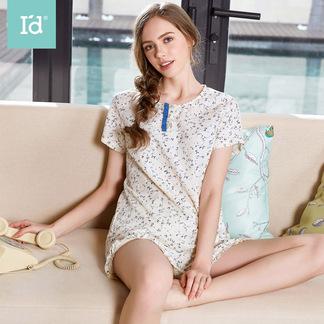 夏季短袖棉麻睡衣可外穿短袖五分裤女式文艺碎花短袖套6175303211