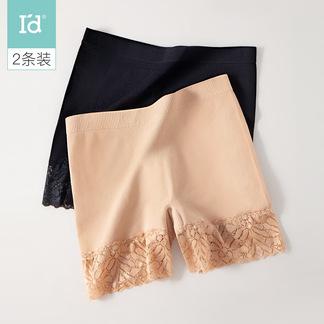 女士**裤打底2条装宽边蕾丝冰丝女式素色花边平角裤6217204811