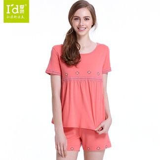 夏季短袖刺绣花边莫代尔睡衣女式民族风短袖套6175303511