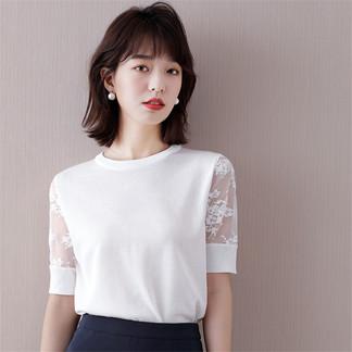 蕾丝短袖女上衣2021夏季新款知性针织衫优雅T恤宽松韩版超薄网红-0162993992