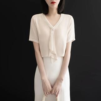另兮2021夏季新款日系钉珠飘带V领雪纺衫女短袖衬衫洋气小衫气质上衣-0163022414