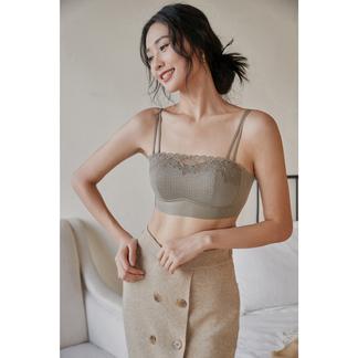 绯素2021新品搭配**圆梦抹胸定制蕾丝花型无钢圈可拆卸双肩带设计女士内衣-027D12B1509
