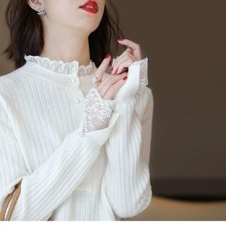 另兮蕾丝花边领针织衫毛衣女2021秋季新款洋气内搭时尚打底衫-0163365990