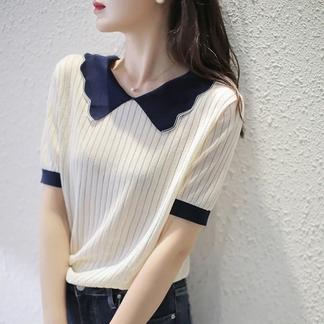 冰丝女短袖娃娃领上衣2021夏季新款韩版宽松镂空针织衫显瘦