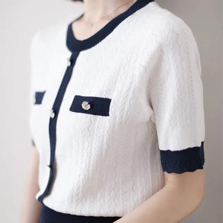 小雏菊定制扣2021夏季新款小香风冰丝短袖镂空上衣女薄款针织衫