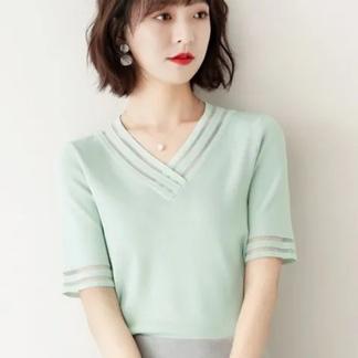 冰丝V领t恤女短袖2021新款夏季薄款针织衫气质心机显瘦上衣潮