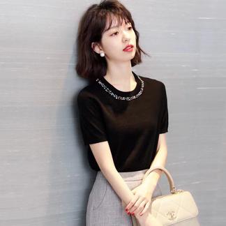 2021新品手工钉珠针织衫女轻熟风冰丝短袖T恤气质针织女士上衣-0163514500