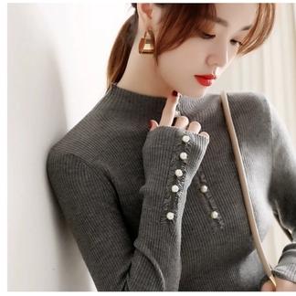 觅寸2021新款精致珍珠装饰半高领螺纹修身晴棉针织衫显瘦优雅时尚毛衣-0163384990