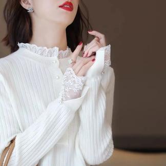 蕾丝花边领针织衫毛衣女2021秋季新款洋气内搭时尚打底衫-0163365990