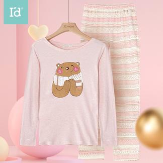 【秋上新】爱帝女士亲肤棉卡通小熊圆领家居服套装9164305711
